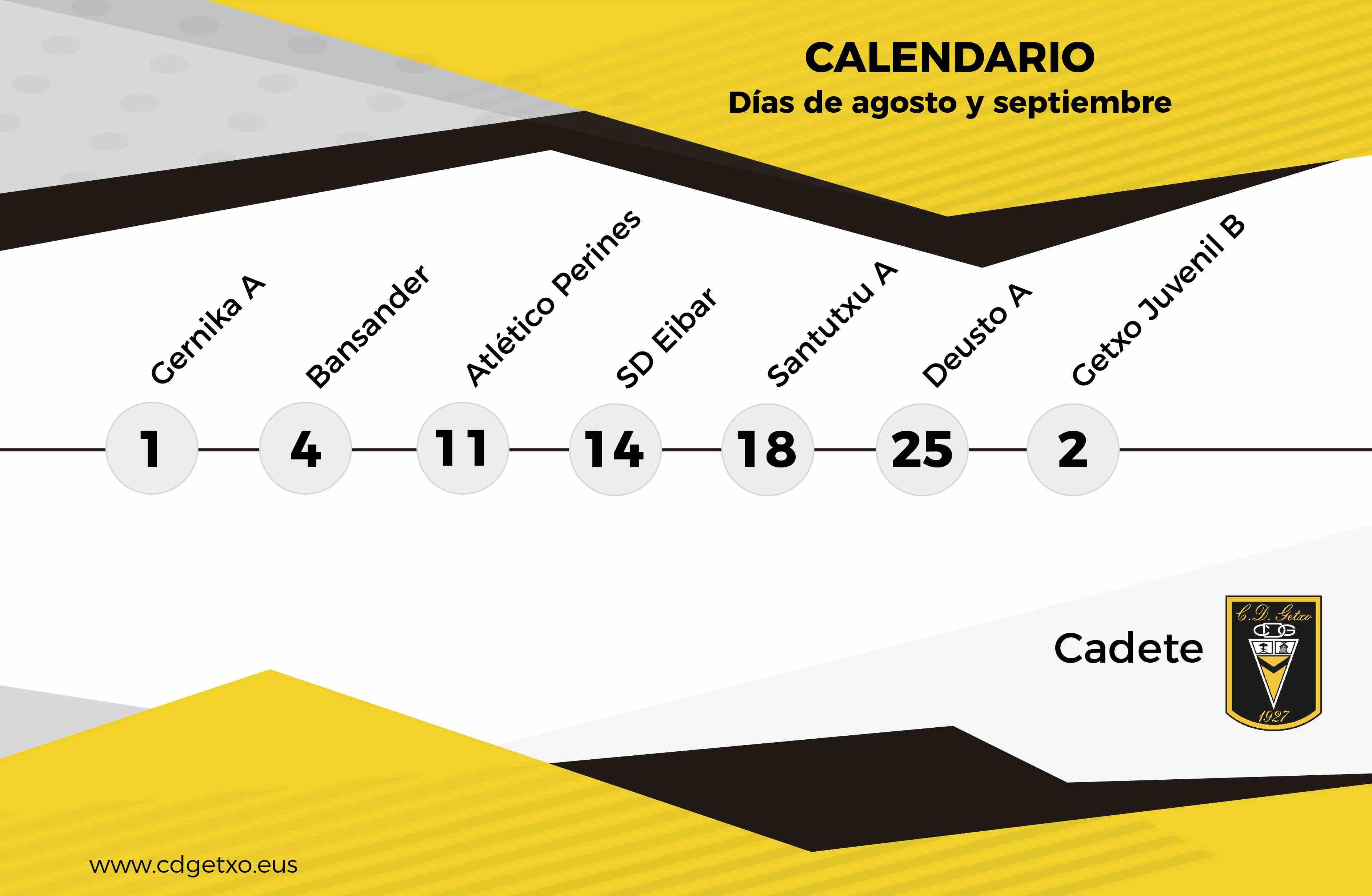 Calendario Deusto.Calendario Verano Cadete